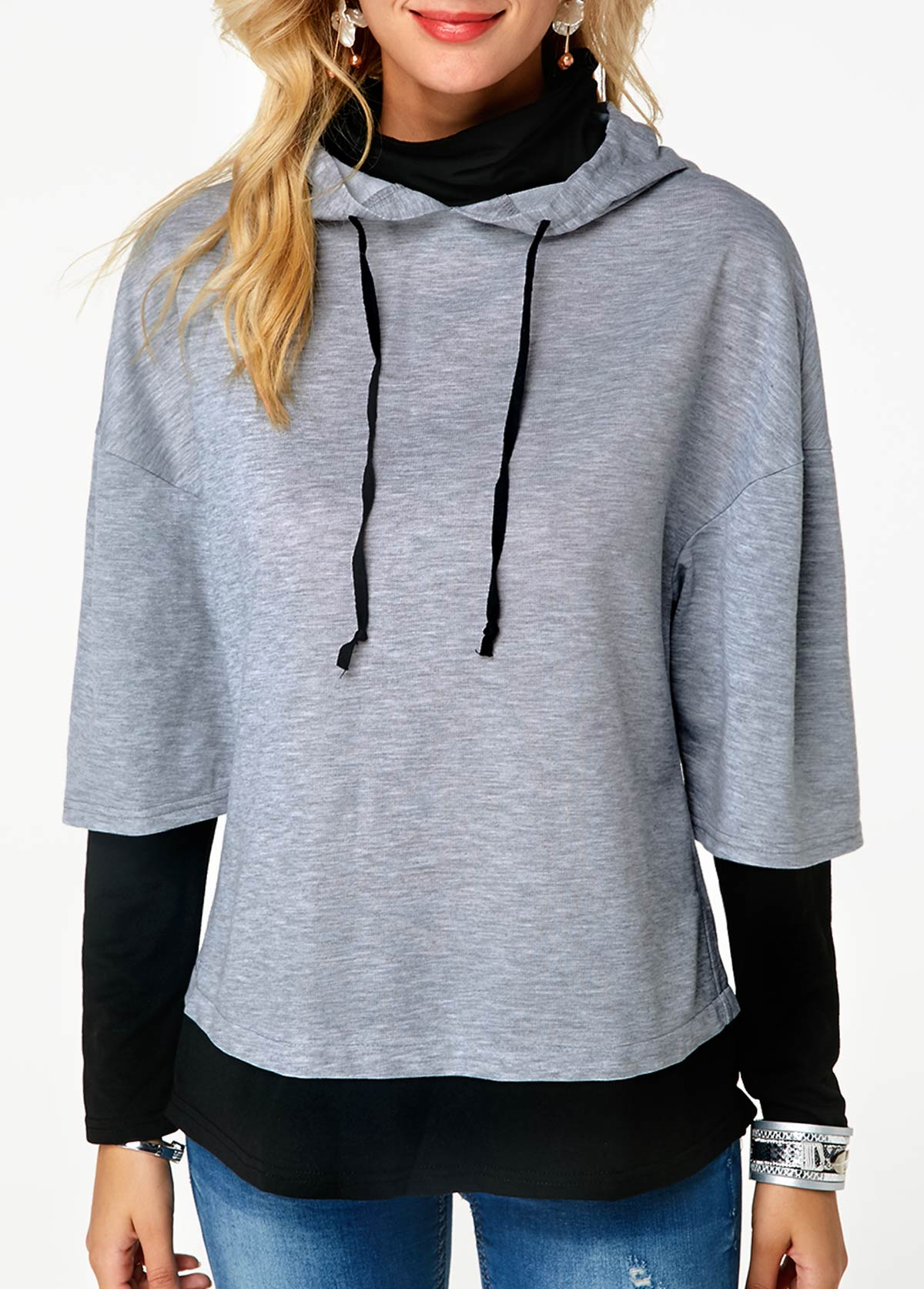 2f4d8bfb6e1 Funnel Neck Grey Long Sleeve Patchwork Drawstring Hoodie ...