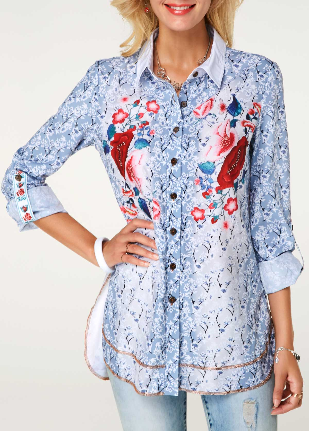 Button Front Roll Tab Sleeve Printed Shirt