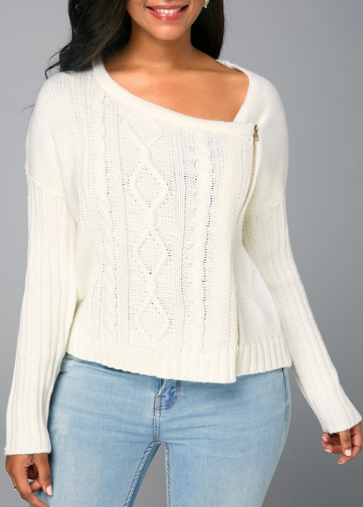 Zipper Front Long Sleeve Beige Knitted Sweater