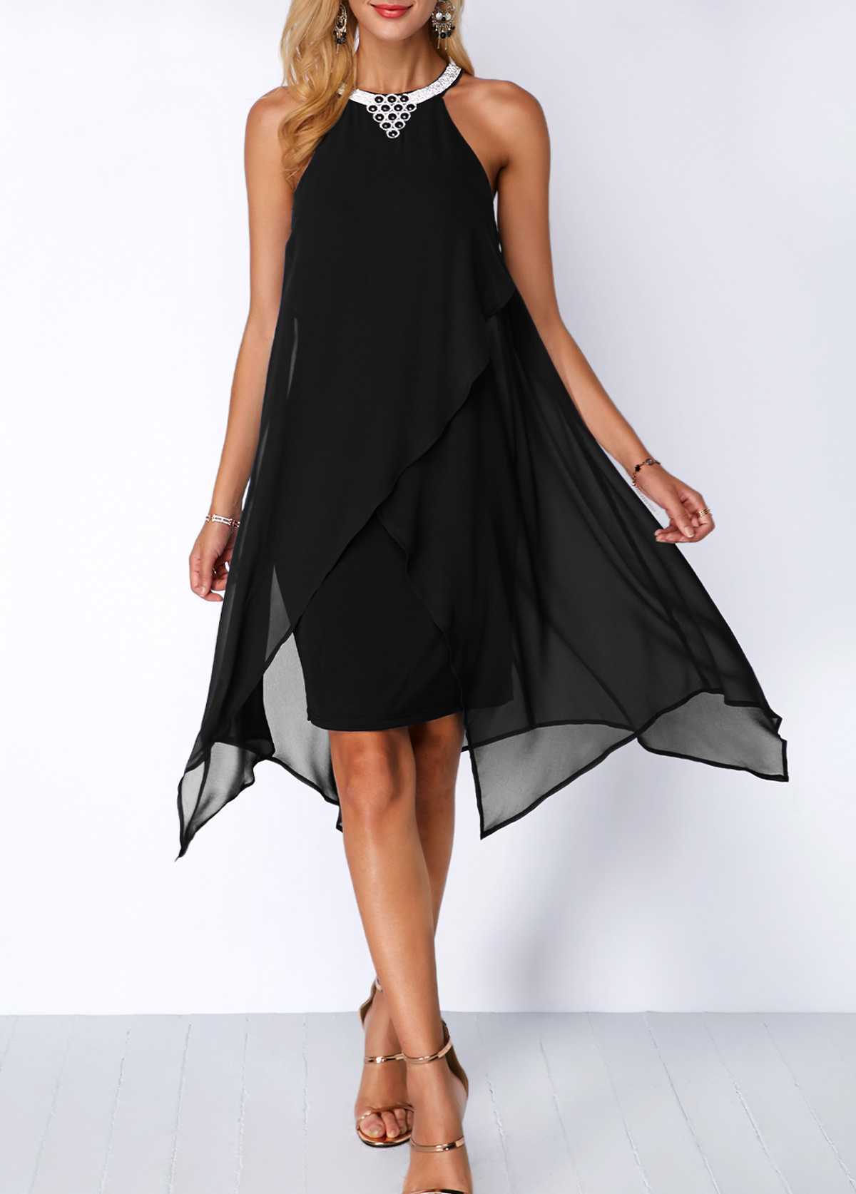 Embellished Neck Asymmetric Hem Black Chiffon Dress