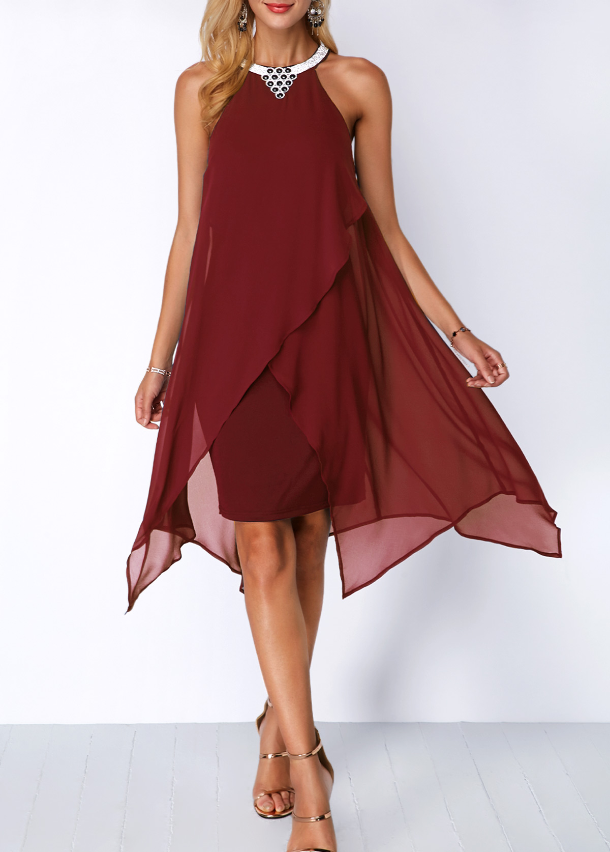 Embellished Neck Chiffon Overlay Wine Red Dress