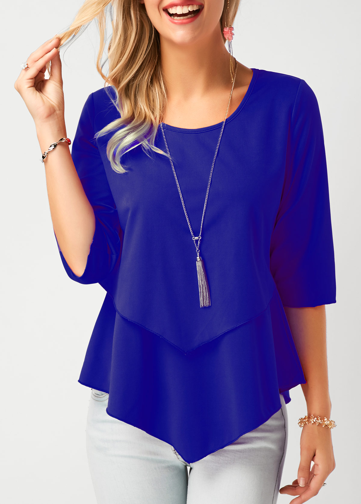 Asymmetric Hem Royal Blue Chiffon Blouse