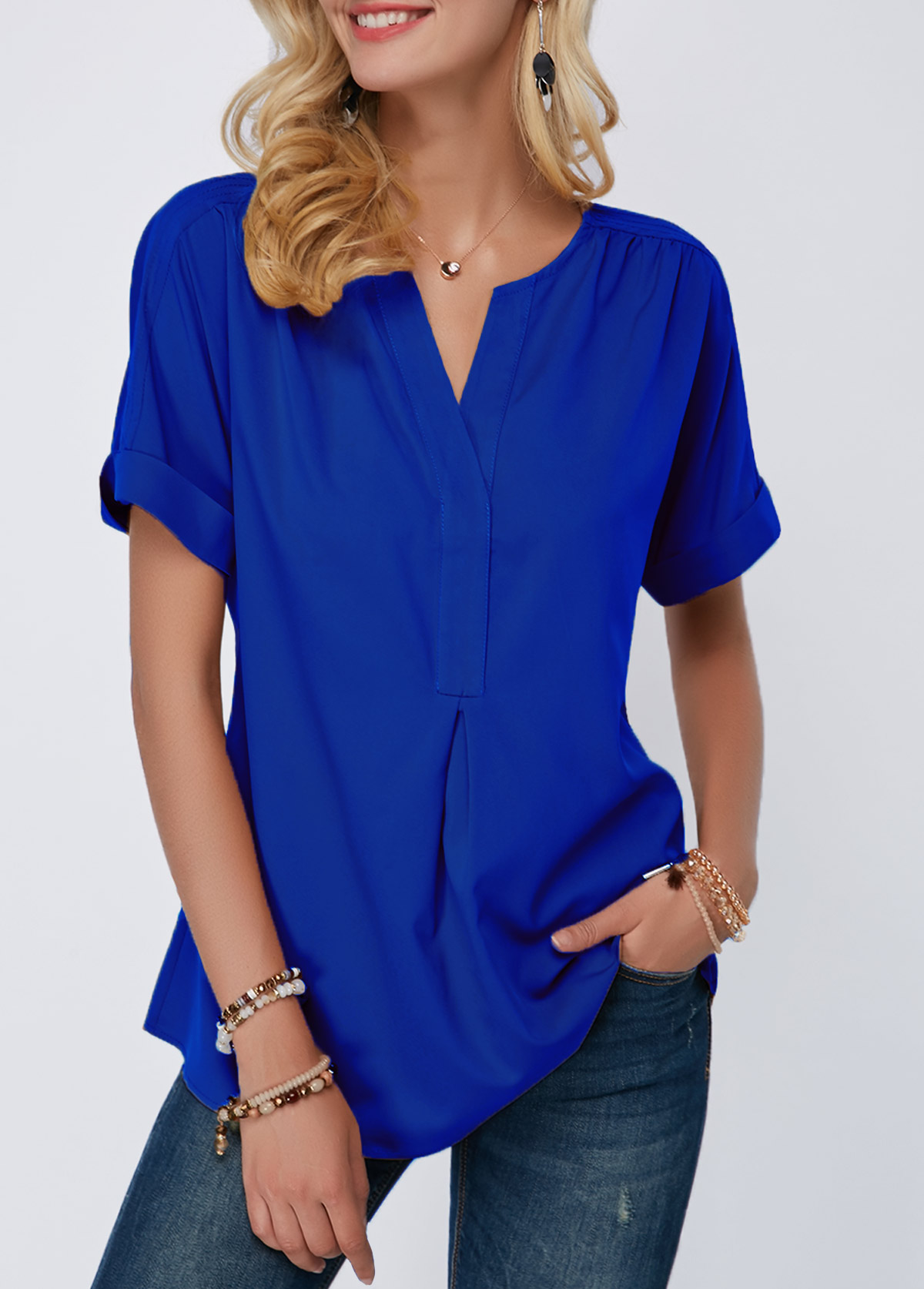Split Neck Royal Blue Short Sleeve Blouse
