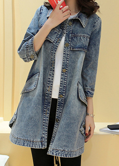 Button Up Pocket Turndown Collor Denim Coat