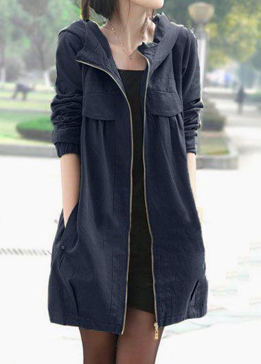 Long Sleeve Zipper Up Hooded Collar Coat