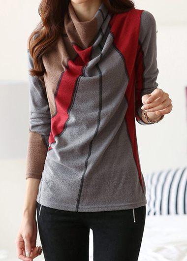 Printed Long Sleeve Cowl Neck T Shirt