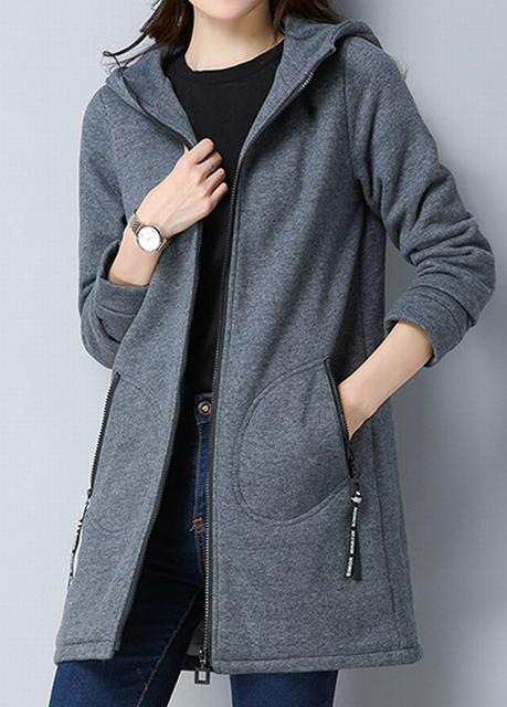 Side Pocket Zipper Closure Hooded Collar Coat