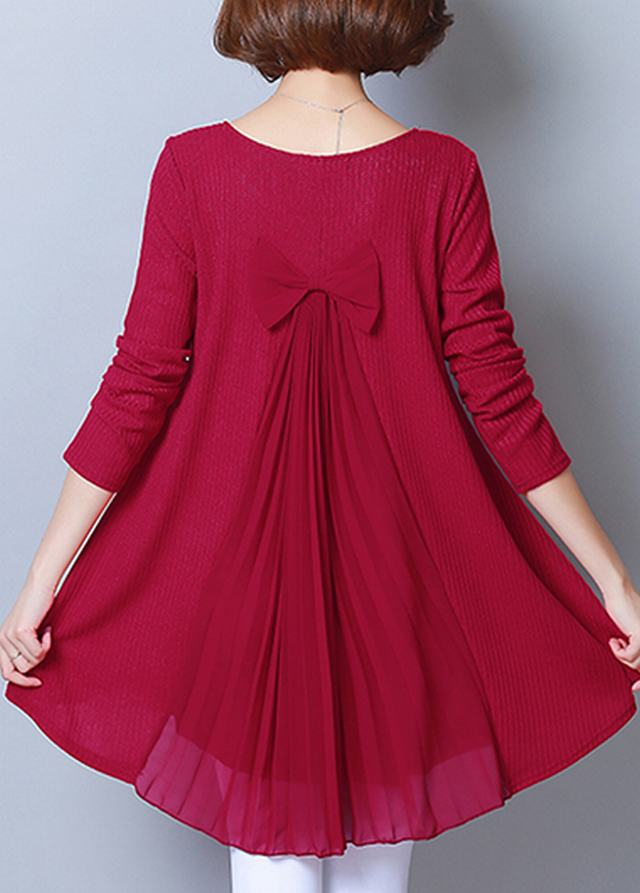 Long Sleeve Bowknot Detail Wine Red Blouse