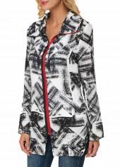 Zipper-Front-Turndown-Collar-Printed-Coat
