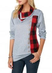 Button-Detail-Long-Sleeve-Plaid-Print-Sweatshirt