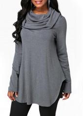 Grey-Long-Sleeve-Cowl-Neck-Sweatshirt