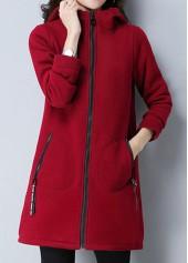 Zipper-Closure-Side-Pocket-Wine-Red-Coat