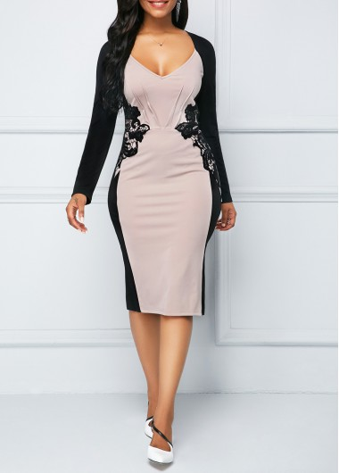 Back Slit Long Sleeve Lace Panel Sheath Dress