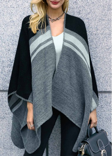 Asymmetric Hem Long Sleeve Striped Cardigan