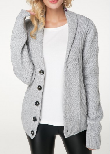 Button Up Long Sleeve Light Grey Cardigan