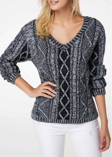 Geometric Pattern V Neck Long Sleeve Sweater