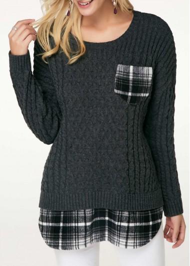 Dark Grey Chest Pocket Plaid Print Patchwork Sweater