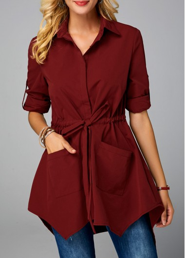 Wine Red Button Up Drawstring Waist Pocket Blouse