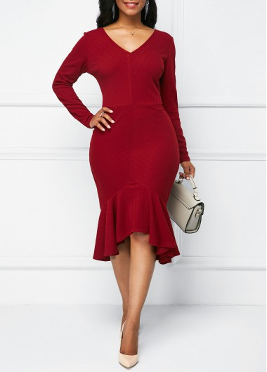 V Neck Long Sleeve Sheath Dress
