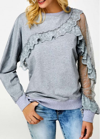 Round Neck Lace Patchwork Ruffle Trim Sweatshirt