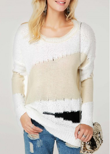 Drop Shoulder Long Sleeve White Sweater