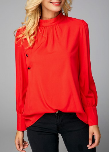 Orange Red Mock Neck Button Detail Blouse