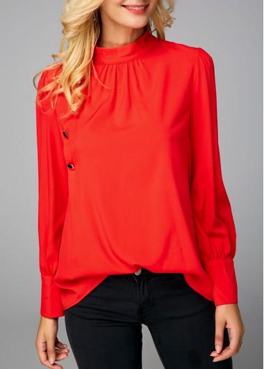 Orange Red Mock Neck Button Detail Blouse