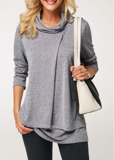 Cowl Neck Long Sleeve Layered Grey T Shirt