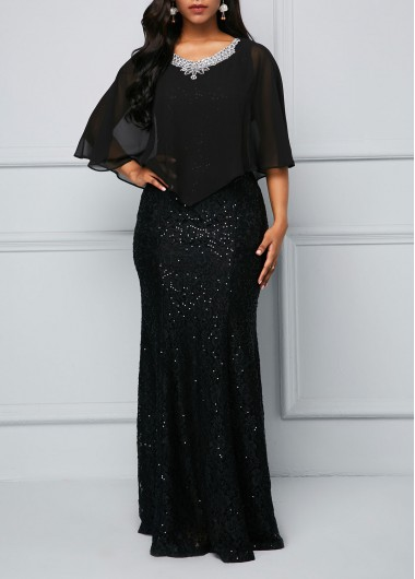 Rhinestone Embellished Chiffon Overlay Black Maxi Dress