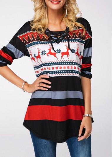 Elk Print Curved Hem Lace Up Sweatshirt - L