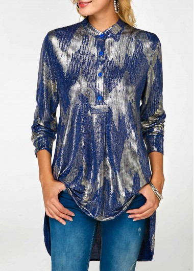 Button Front Long Sleeve Glitter Blouse