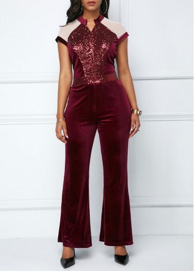 Keyhole Back Zipper Front Sequin Embellished Jumpsuit