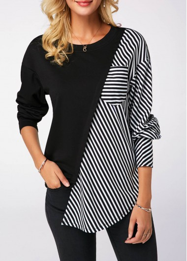 Striped Long Sleeve Round Neck Black Sweatshirt