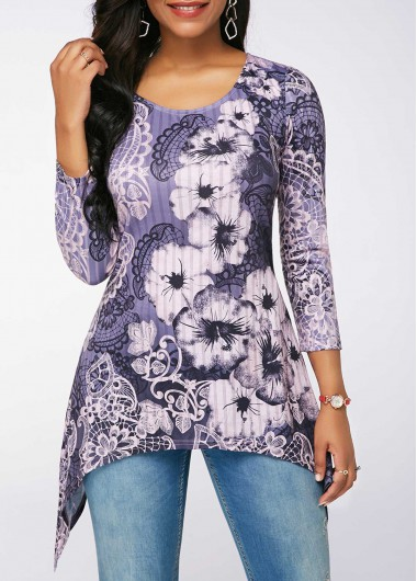 Round Neck Three Quarter Sleeve Blouse