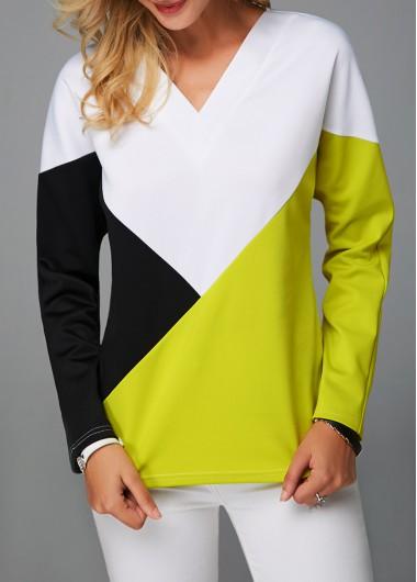 V Neck Long Sleeve Color Block Sweatshirt
