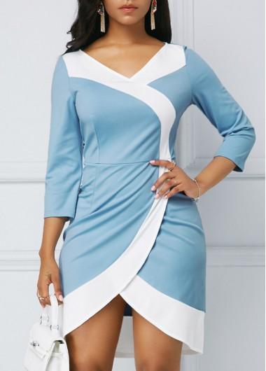 Three Quarter Sleeve Light Blue Tulip Hem Dress