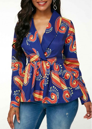 Printed Shawl Collar Peplum Waist Long Sleeve Blouse