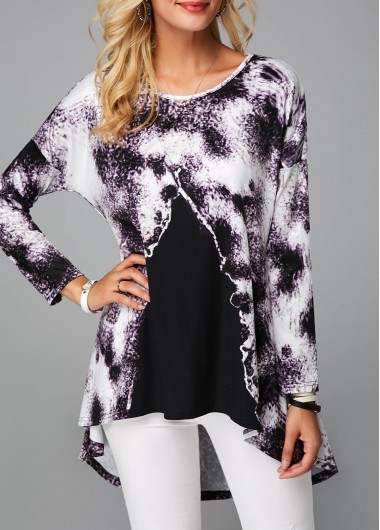 Round Neck Long Sleeve Printed Tunic Top - M
