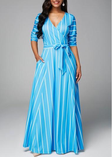 Striped Long Sleeve V Neck Belted Maxi Dress