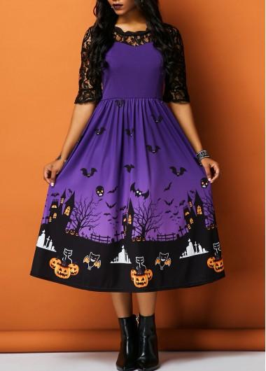 Lace Panel Half Sleeve Printed Halloween Dress