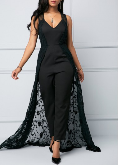 Sleeveless Plunging Neck Lace Overlay Jumpsuit