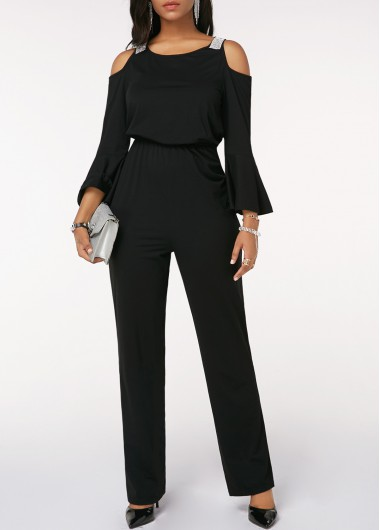Cinched Waist Flare Sleeve Cold Shoulder Black Jumpsuit