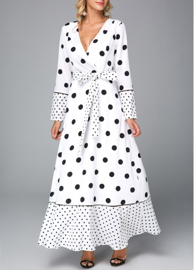 Polka Dot V Neck Belted White Maxi Dress