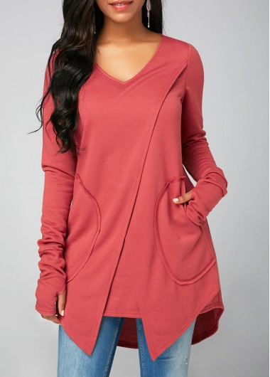 V Neck Long Sleeve Pocket Sweatshirt - L