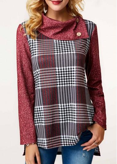 Plaid Print Button Detail Pullover Sweatshirt