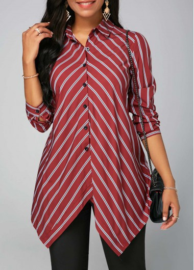Stripe Print Turndown Collar Long Sleeve Shirt