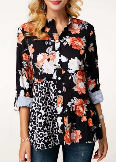 Flower Print Long Sleeve Button Up Blouse - M