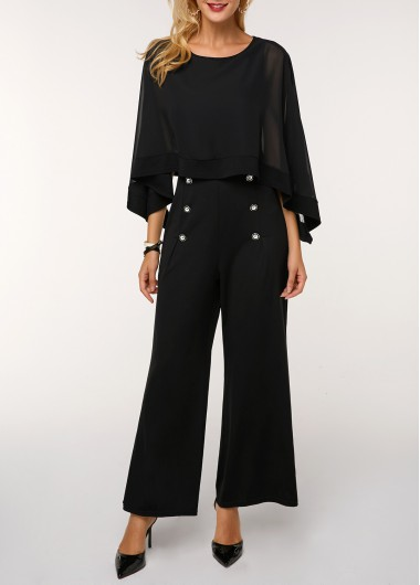 Button Detail Chiffon Overlay Black Jumpsuit