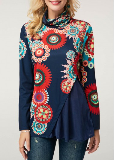 Printed Long Sleeve High Neck Blouse