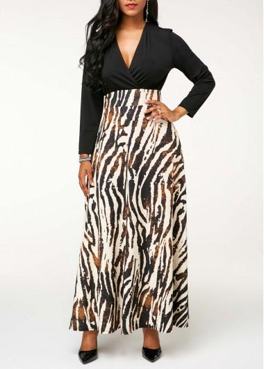 Zebra Print V Neck Long Sleeve Maxi Dress